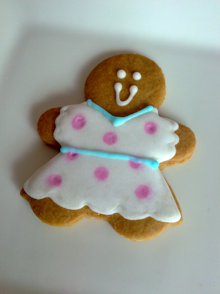 Gingerbread Girl - white dress pink dots