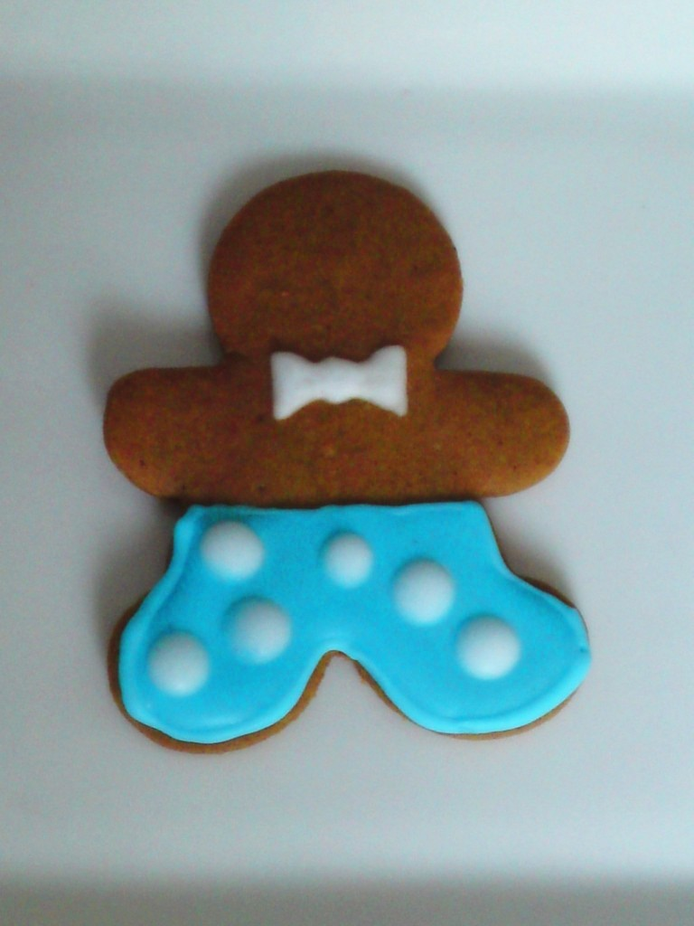 Gingerbread Man- Blue pants white dots