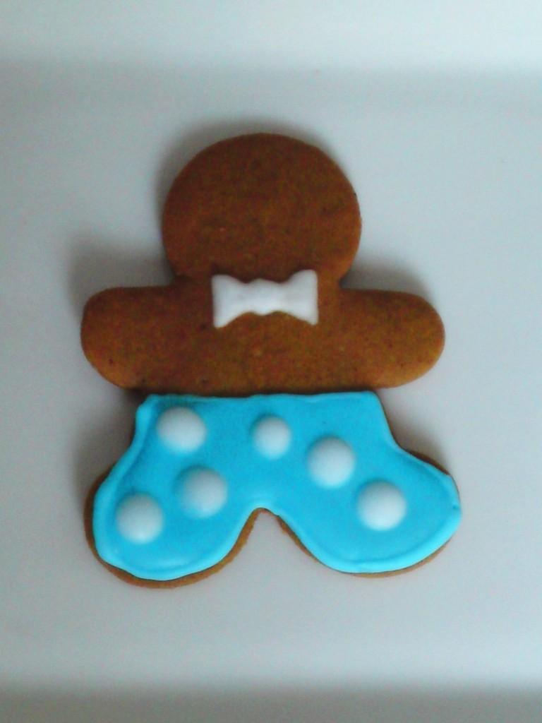 Gingerbread Man- Blue pants white dots